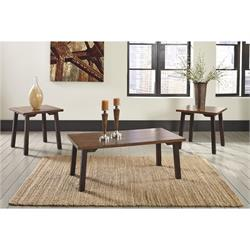 Latoon 2-tone Brown Coffee and 2 end tables T205-13 Image