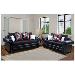 Brody Black Grady Back Shimmer Sofa and Loveseat 3575-35-38-BLACK-VISION Image