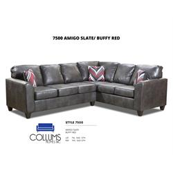 Amigo Slate Buffy Red and Grey Sectional  7500-RSF-LSF Image